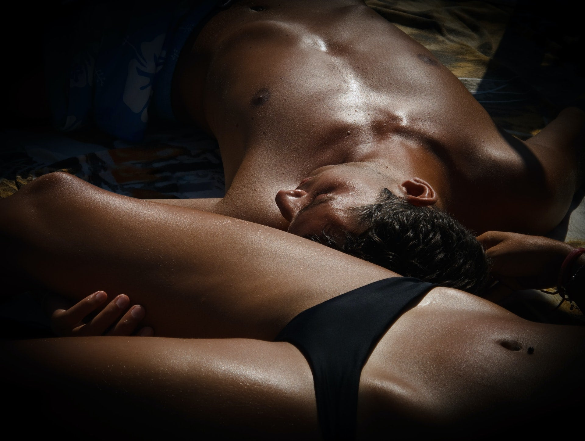 Man and woman resting