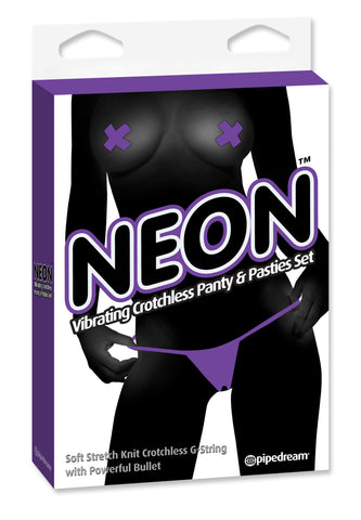 Neon Vibrating Crotchless Panty and Pasties Set Clit Stimulator (purple)