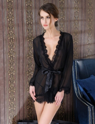 #80182-1 Black Sheer Lace Trim Sexy Robe With Belt