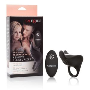 Black Silicone Rechargeable Remote Pleasurizer Ring Toys box