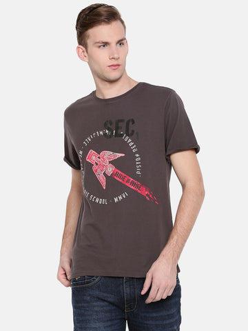MOTOCULT Men Grey Solid Round neck T-Shirt