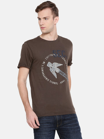 MOTOCULT Men Brown Solid Round neck T-Shirt