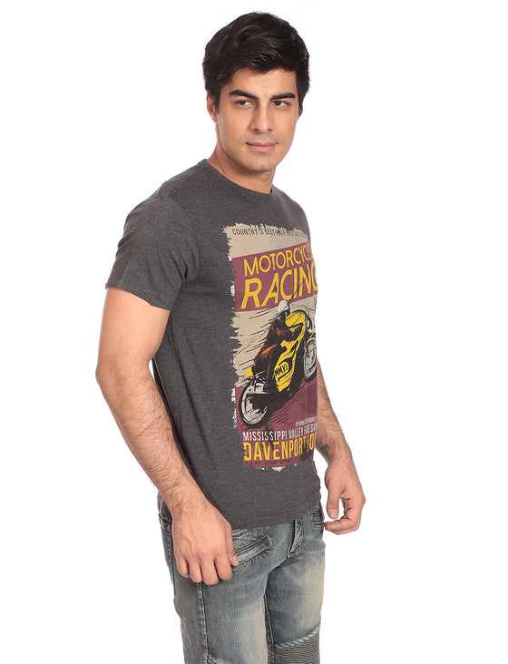 Printed T-Shirt-Motorcycle Racing