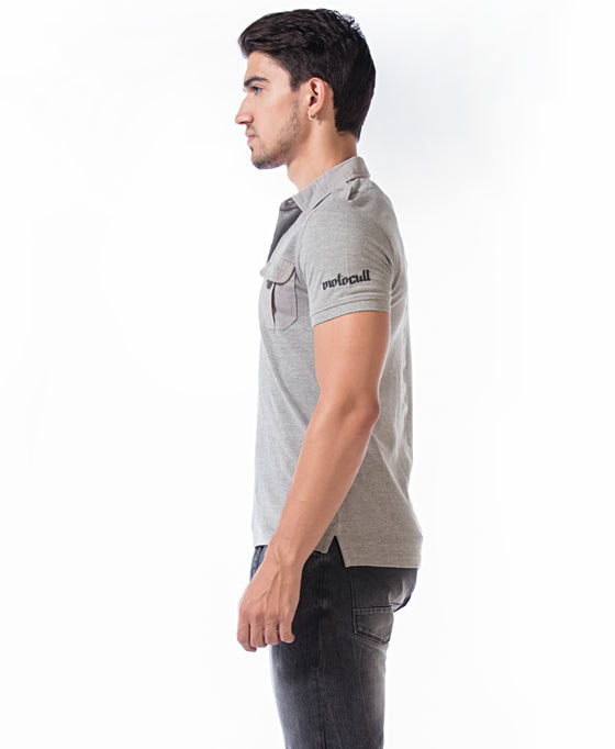 MotoCult Men Grey Solid Polo Shirt With Pocket