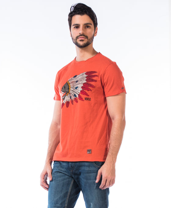 Printed T-Shirt-Skull Indian