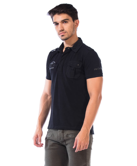 MotoCult Men Black Solid Polo Shirt With Pocket