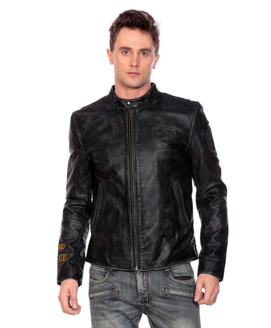 Rub Off Leather Jacket-Embroidered