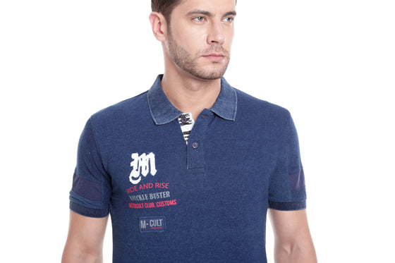 MotoCult Men Indigo Printed M-Cult Polo Shirt