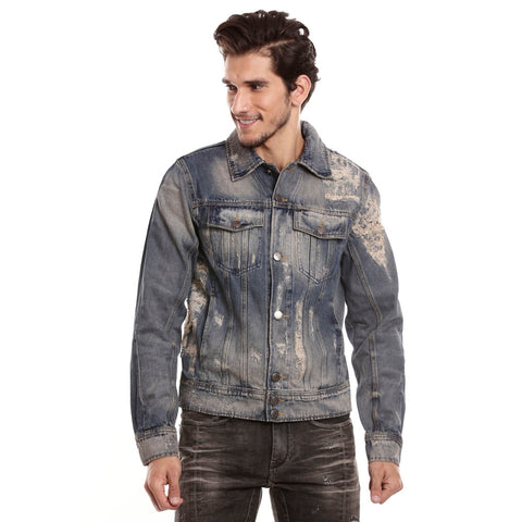 Motocult Men Indigo Solid Denim Jacket