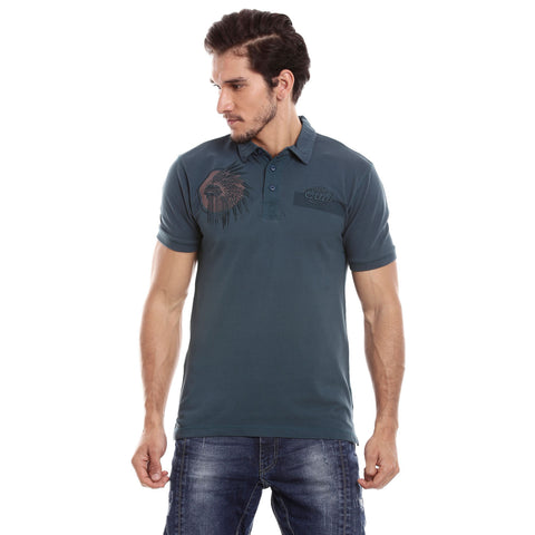 Men Blue Solid Polo Collar T-shirt