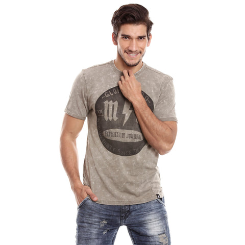 Men Olive Solid Round neck T-shirt