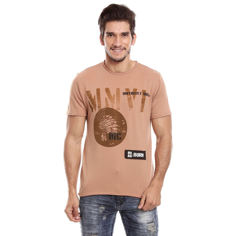 Men Brown Solid Round neck T-shirt