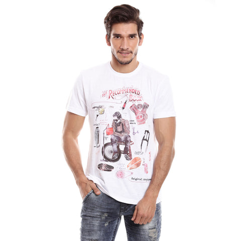 Men White Solid Round neck T-shirt