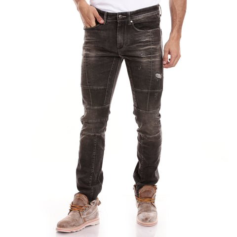 Men Black Regular Fit Mid-Rise Mildly Distressed Jeans