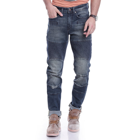 Men Blue Relaxed Fit Mid-Rise Mildly Distressed Jeans