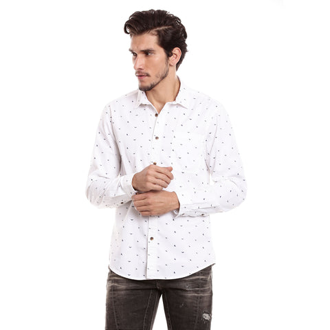 MOTOCULT  Men White Regular Fit Checked Shirt