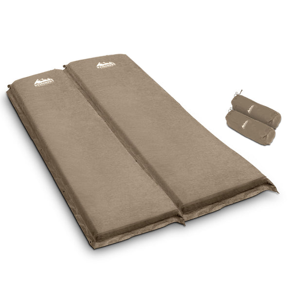 Weisshorn Double Size Self Inflating Mattress Mat Joinable 10CM Thick   Coffee - Ghillie Outdoors Hunting & Fishing