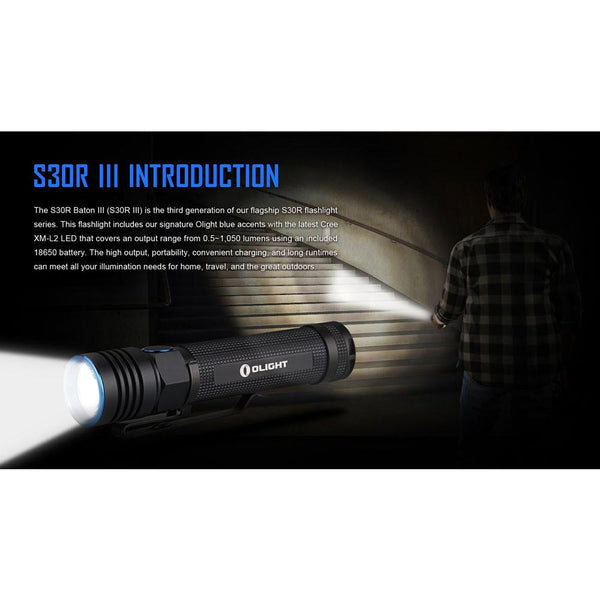 Olight S30R3 Baton Rechargeable LED Torch 1050Lm