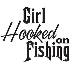 Girl Hooked On Fishing Vinyl Decal **FREE SHIPPING** - Ghillie Outdoors Hunting & Fishing