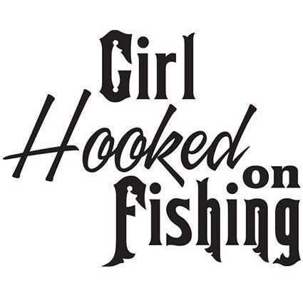Girl Hooked On Fishing Vinyl Decal **FREE SHIPPING**