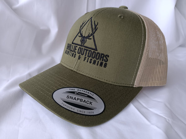Ghillie Outdoors Logo Olive Green Trucker Cap Snapback - Ghillie Outdoors Hunting & Fishing