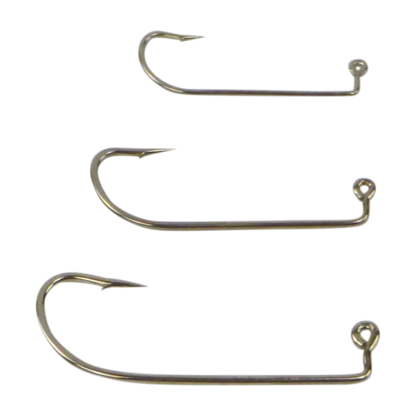 Swimerz 1/0 Offset Shank Jig Hook, O'Shaunessy Style, Nickel coated, Value Pack of 25 - Ghillie Outdoors Hunting & Fishing