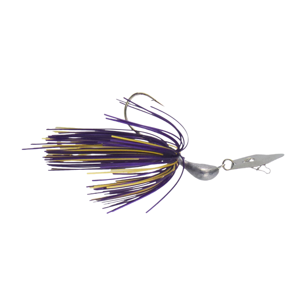 Dekoi 14gm Bladed Swim Jig, Chatterbait, Purple Gold, 2 pack - Ghillie Outdoors Hunting & Fishing