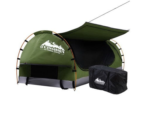 Weisshorn Swag King Single Camping Swags Canvas Free Standing Dome Tent Celadon with 7CM Mattress - Ghillie Outdoors Hunting & Fishing