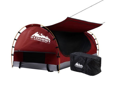 Weisshorn Swag King Single Camping Swags Canvas Free Standing Dome Tent Red with 7CM Mattress - Ghillie Outdoors Hunting & Fishing
