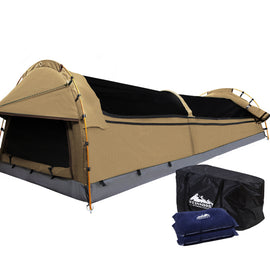 Weisshorn Double Swag Camping Swag Canvas Tent - Beige - Ghillie Outdoors Hunting & Fishing