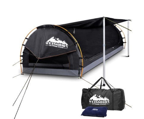 Weisshorn King Single Swag Camping Swag Canvas Tent - Dark Grey - Ghillie Outdoors Hunting & Fishing