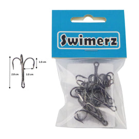 Swimerz  Striker Trebles Size 2 Black Nickel, 12 pack - Ghillie Outdoors Hunting & Fishing