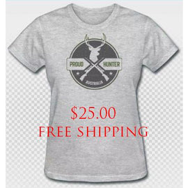 **Clearance** Proud Hunter Womens Cotton Blend Tee Grey FREE SHIPPING - Ghillie Outdoors Hunting & Fishing