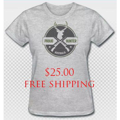 **Clearance** Proud Hunter Womens Cotton Blend Tee Grey FREE SHIPPING