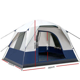Weisshorn 4 Person Canvas Camping Tent - Navy & Grey - Ghillie Outdoors Hunting & Fishing