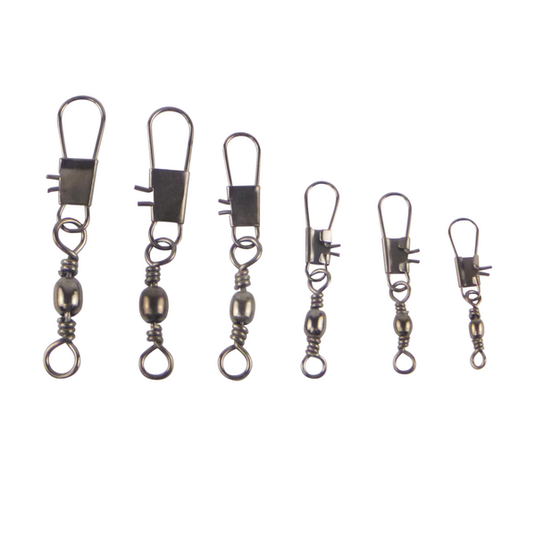 Swimerz Size 8 Barrel Swivel w Interlock Snap Black Nickel, 20 pack - Ghillie Outdoors Hunting & Fishing