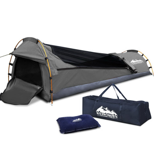 Weisshorn Biker Single Swag Camping Swag Canvas Tent - Grey - Ghillie Outdoors Hunting & Fishing