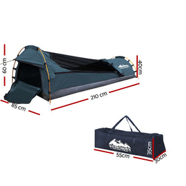 Weisshorn Biker Single Swag Camping Swag Canvas Tent - Navy - Ghillie Outdoors Hunting & Fishing