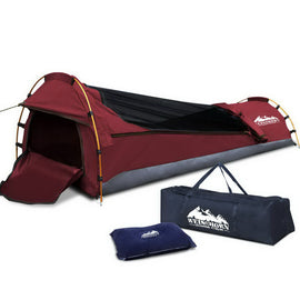 Weisshorn Biker Single Swag Camping Swag Canvas Tent - Red - Ghillie Outdoors Hunting & Fishing