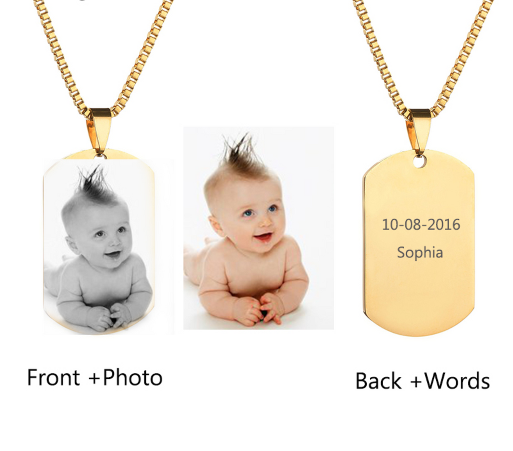 custom engraved photo necklace