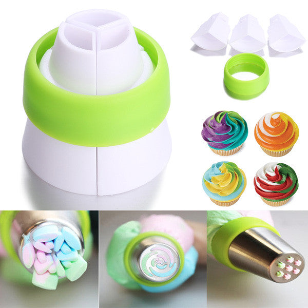 Tri-color Cream Coupler Cake Decorating