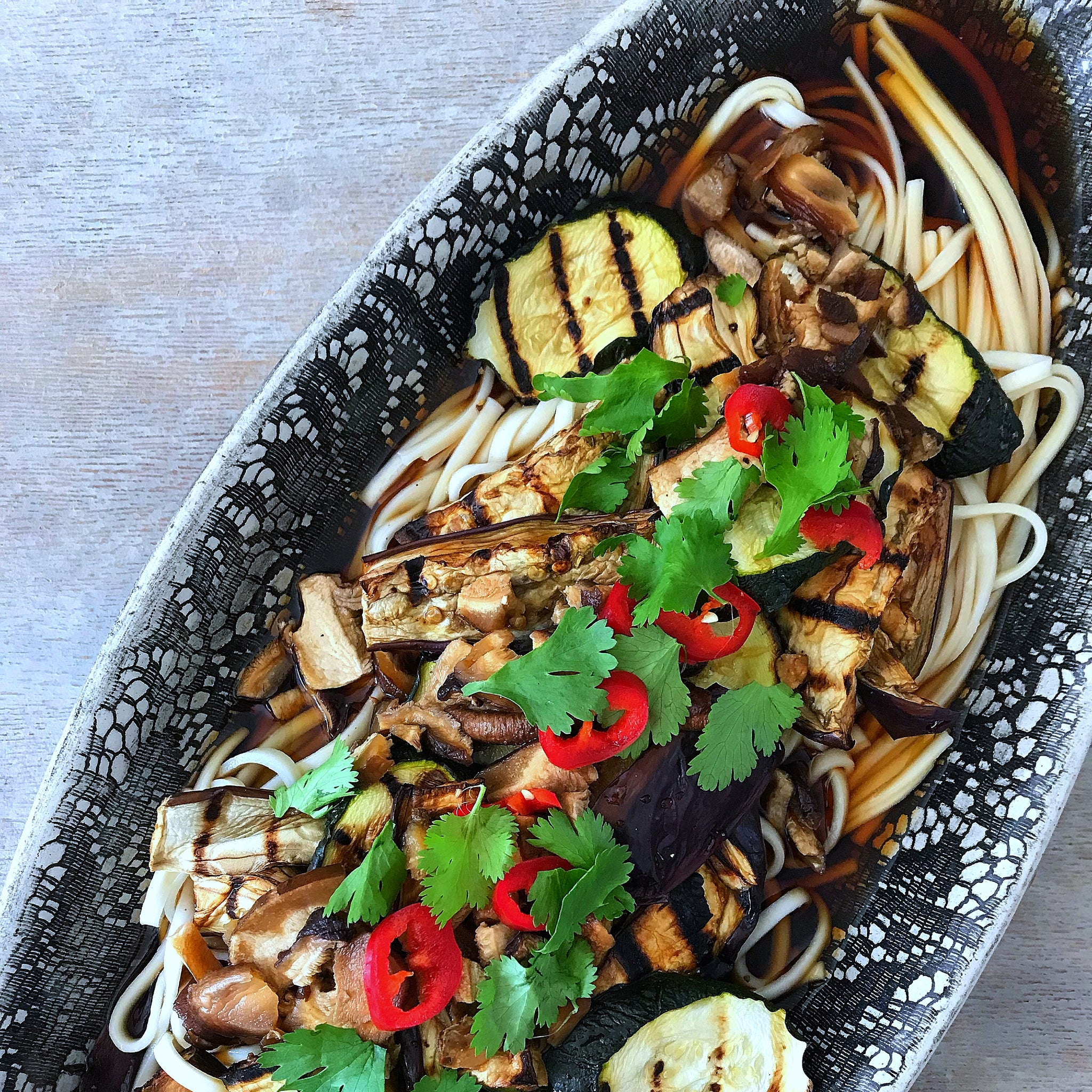 Dashi Udon Noodle Salad with Aubergine & Courgette