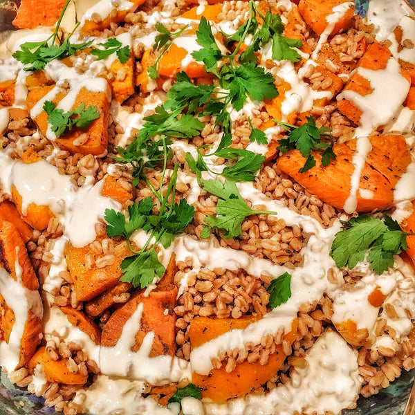 Shawarma Roasted Butternut & Spelt Salad with Tahina