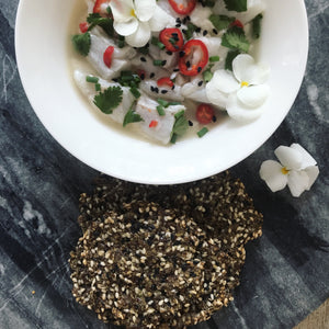 Sea Bass Ceviche & Sesame Crackers (Gluten Free)