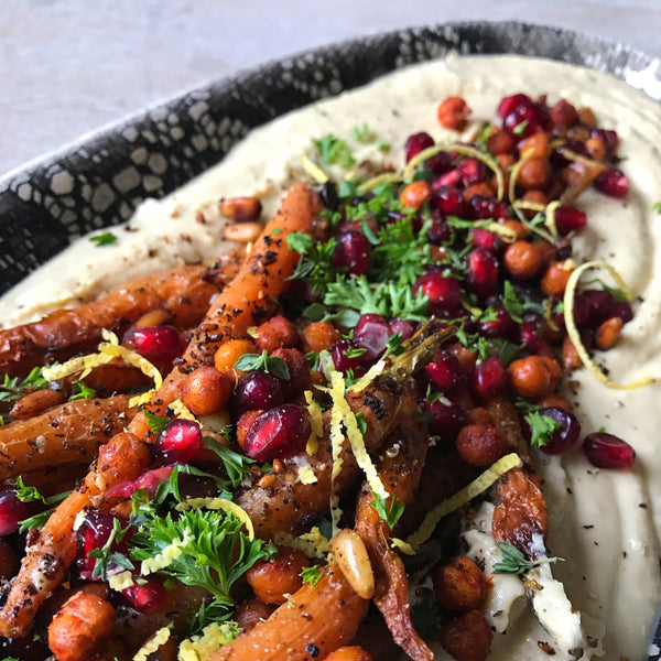 Loaded Hummus - Za'atar Roasted Carrots, Pine nuts, Crispy Chickpeas, Herbs & Pomegranate!