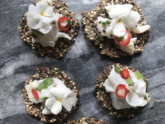 Sea bass ceviche on Sesame crackers