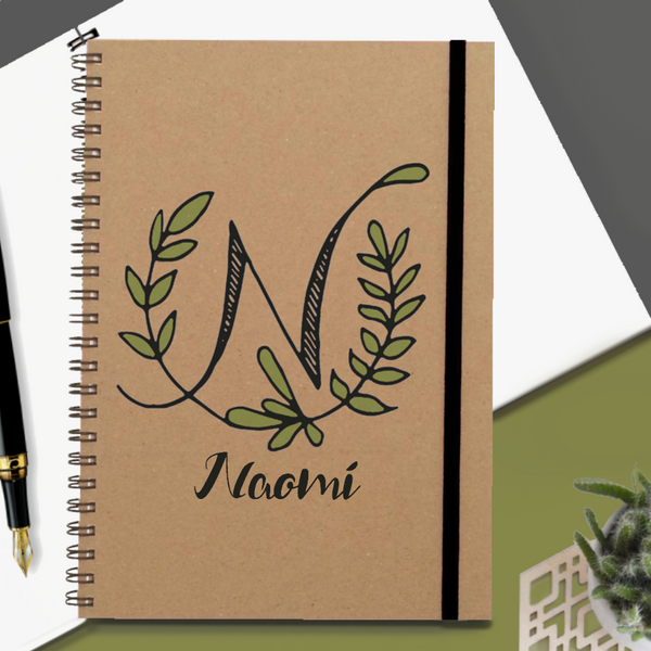 Personalised Botanical Initial Notebook