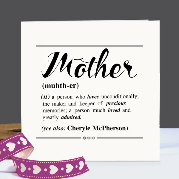 Personalised Mother Definition Card (White)