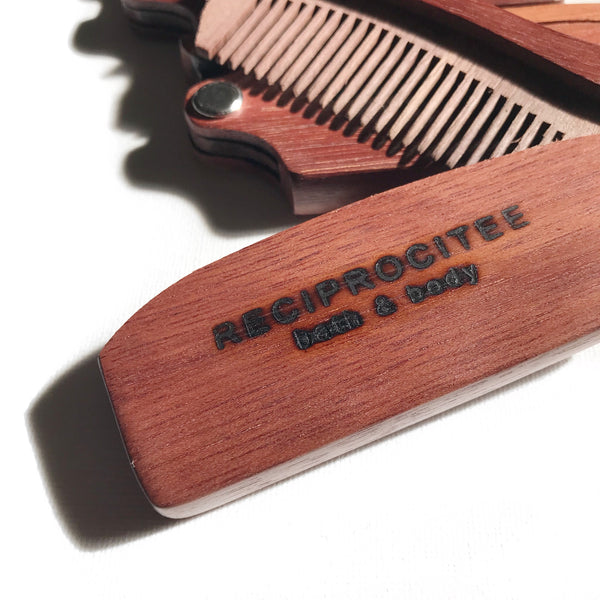 Reciprocitee Amoora Wood Beard Comb