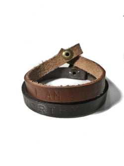 Reciprocitee leather affirmation bracelets